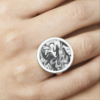 Black White Liquefied Marble, Round Dress Ring.