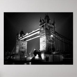 Black White London Tower Bridge at Night Poster
