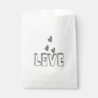Black & White Love Hearts - Wedding Party Favour Bag