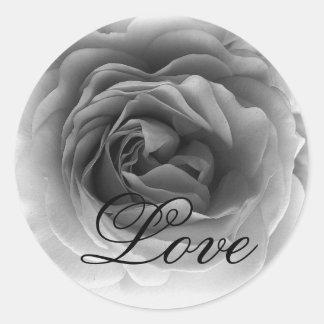 Black & White LOVE Rose - Wedding Envelope Seal Round Sticker