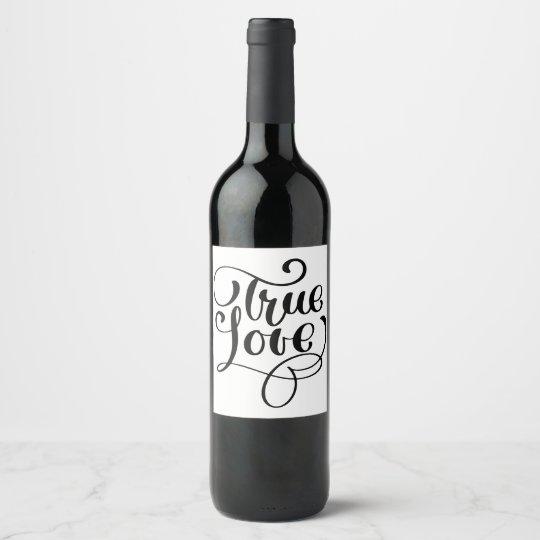 Black & White Love Typography Wedding Party Wine Label