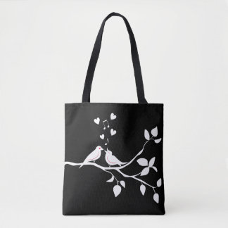 Black & White Lovebirds Wedding / Bridal Shower Tote Bag
