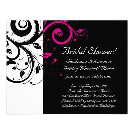 Black, White, Magenta Swirl Bridal Shower/ General Custom Invites