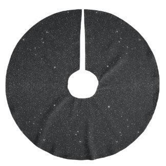 Black & White Majestic Starry Nebula Night Brushed Polyester Tree Skirt