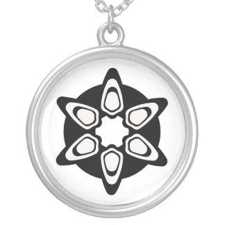 Black & White Mandala Design Custom Personalized Necklace