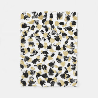Black white marble faux gold modern brushstrokes fleece blanket
