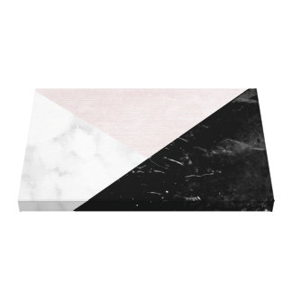 Black, White Marble Pink Silk Abstract Geometric Canvas Print