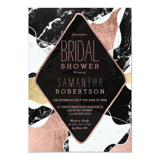 Black white marble rose gold modern bridal shower card