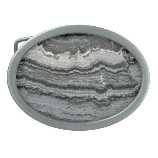 Black white marble stone belt buckle. oval belt buckle