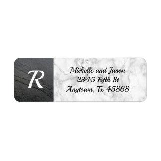 Black White Marble Stone Rock Elegant Classic Return Address Label