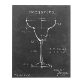 Black & White Margarita Glass Blueprint Acrylic Wall Art
