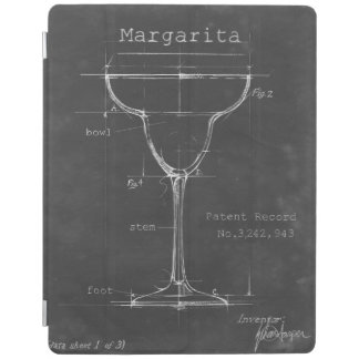 Black & White Margarita Glass Blueprint iPad Cover