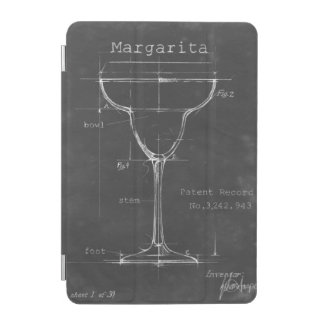 Black & White Margarita Glass Blueprint iPad Mini Cover