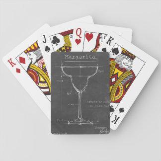 Black & White Margarita Glass Blueprint Playing Cards