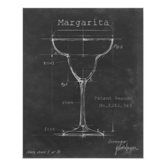 Black & White Margarita Glass Blueprint Poster
