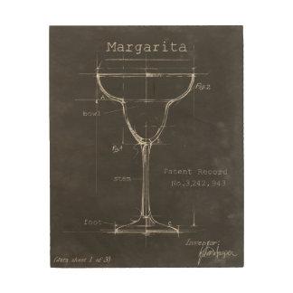 Black & White Margarita Glass Blueprint Wood Wall Art