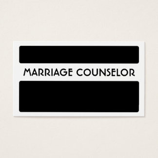 Black white marriage counselor business cards