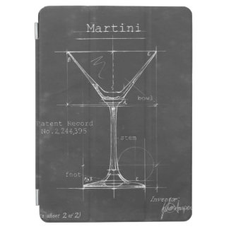 Black & White Martini Glass Blueprint iPad Air Cover