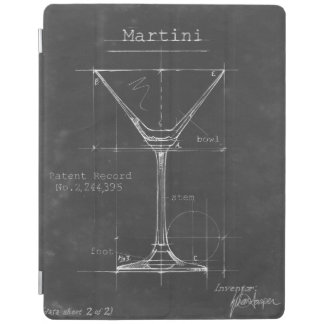 Black & White Martini Glass Blueprint iPad Cover