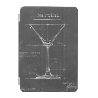 Black & White Martini Glass Blueprint iPad Mini Cover