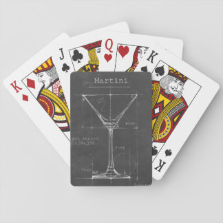 Black & White Martini Glass Blueprint Playing Cards