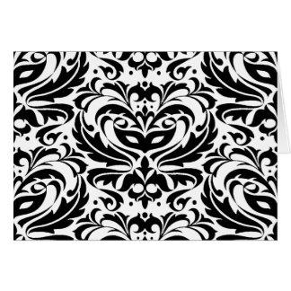 Black & White Masquerade Damask Card