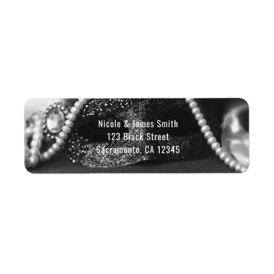 Black & White Masquerade Mask & Pearls Invitation Return Address Label