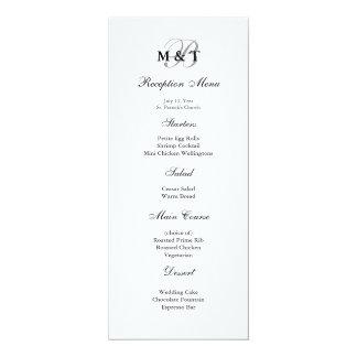Black & White Matte Monogram Wedding Menu 10 Cm X 24 Cm Invitation Card