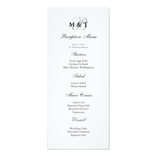 Black & White Matte Monogram Wedding Menu Card