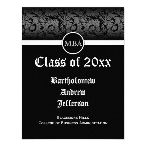 Black/White MBA Business Grad School Graduation Custom Invitation