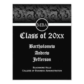 Black/White MBA Business Grad School Graduation 11 Cm X 14 Cm Invitation Card