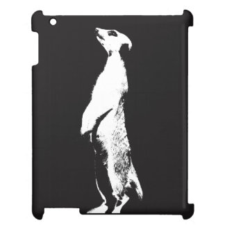 Black & White Meerkat - right - iPad case