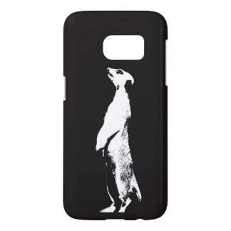 Black & White Meerkat - right - Phone case