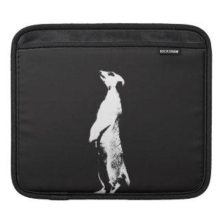 Black & White Meerkat - right - Tablet sleeve iPad Sleeves