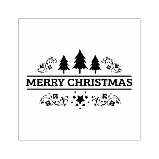 Black White Merry Christmas Rubber Stamp