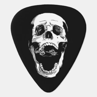Black white metal screaming skull tattoo plectrum