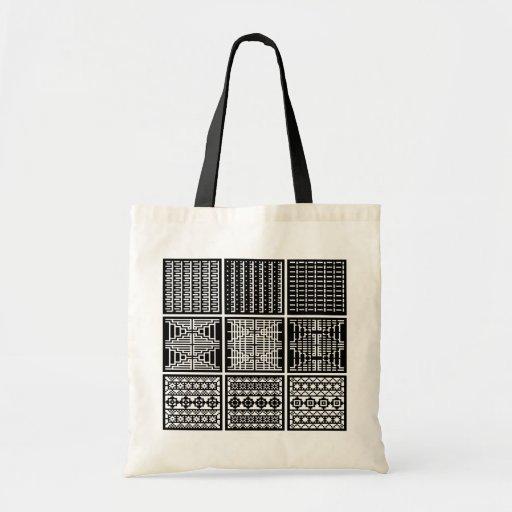 Black  & White Minimal Square/Cubic Art Tote Bag