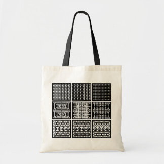 Black  & White Minimal Square/Cubic Art Tote Budget Tote Bag