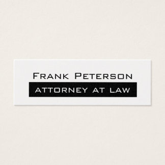 Black white minimalist Gold attorney at law Mini Business Card