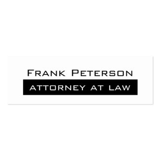 Black white minimalist modern attorney at law pack of skinny business cards