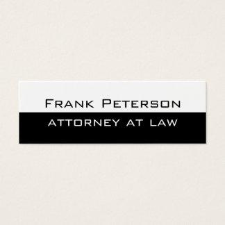 Black white minimalist modern attorney at law mini business card