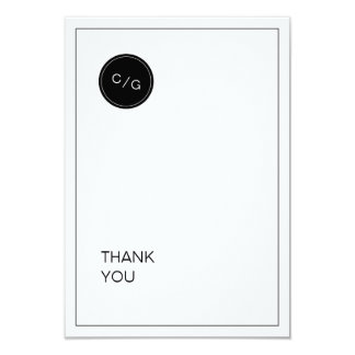 Black white minimalist modern wedding thank you card