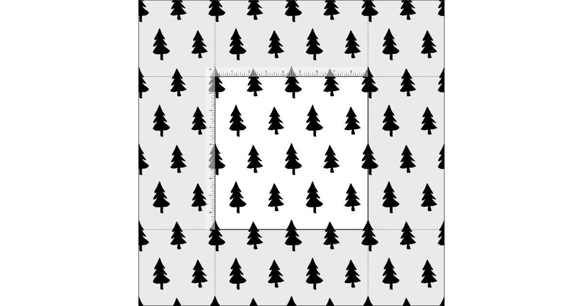 Minimalist Pine Tree: Black White Minimalist PINE TREE CHRISTMAS CUSTOM Fabric