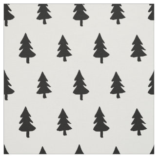Black white Minimalist PINE TREE CHRISTMAS CUSTOM Fabric