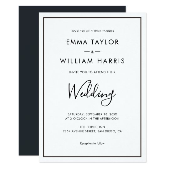 Gallery Minimalist Wedding Invitations: Black & White Minimalist Wedding Invitation 01