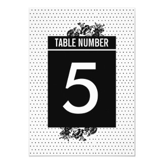 Black & White Mod Color Block Table Numbers Card 13 Cm X 18 Cm Invitation Card