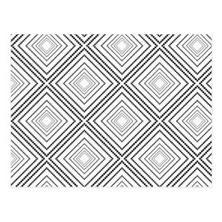 Black white modern abstract geometric pattern postcard