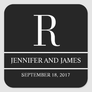 Black White Modern Monogram R Wedding Sticker