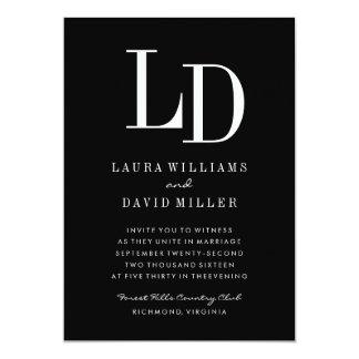 Black & White Modern Monogram Wedding Invitation