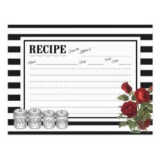 Black | White Modern Stripes Floral Recipe Card